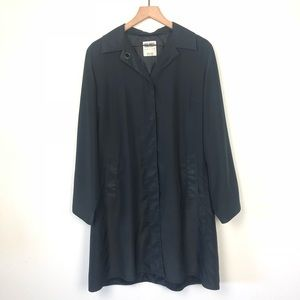 Hilary Radley Full Length Black Trench Coat Petite